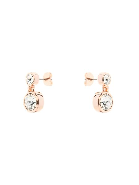 Karen Millen Rose gold & crystal dot drop earring