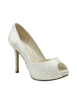 Fancy lace peep toe platform shoes