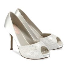 Paradox London Pink Fancy lace peep toe platform shoes