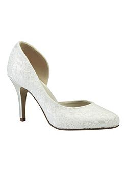 Cathy lace round toe court shoes