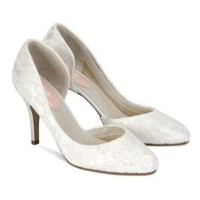Paradox London Pink Cathy lace round toe court shoes