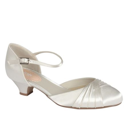 Paradox London Pink Protea low heel pleated round toe shoes