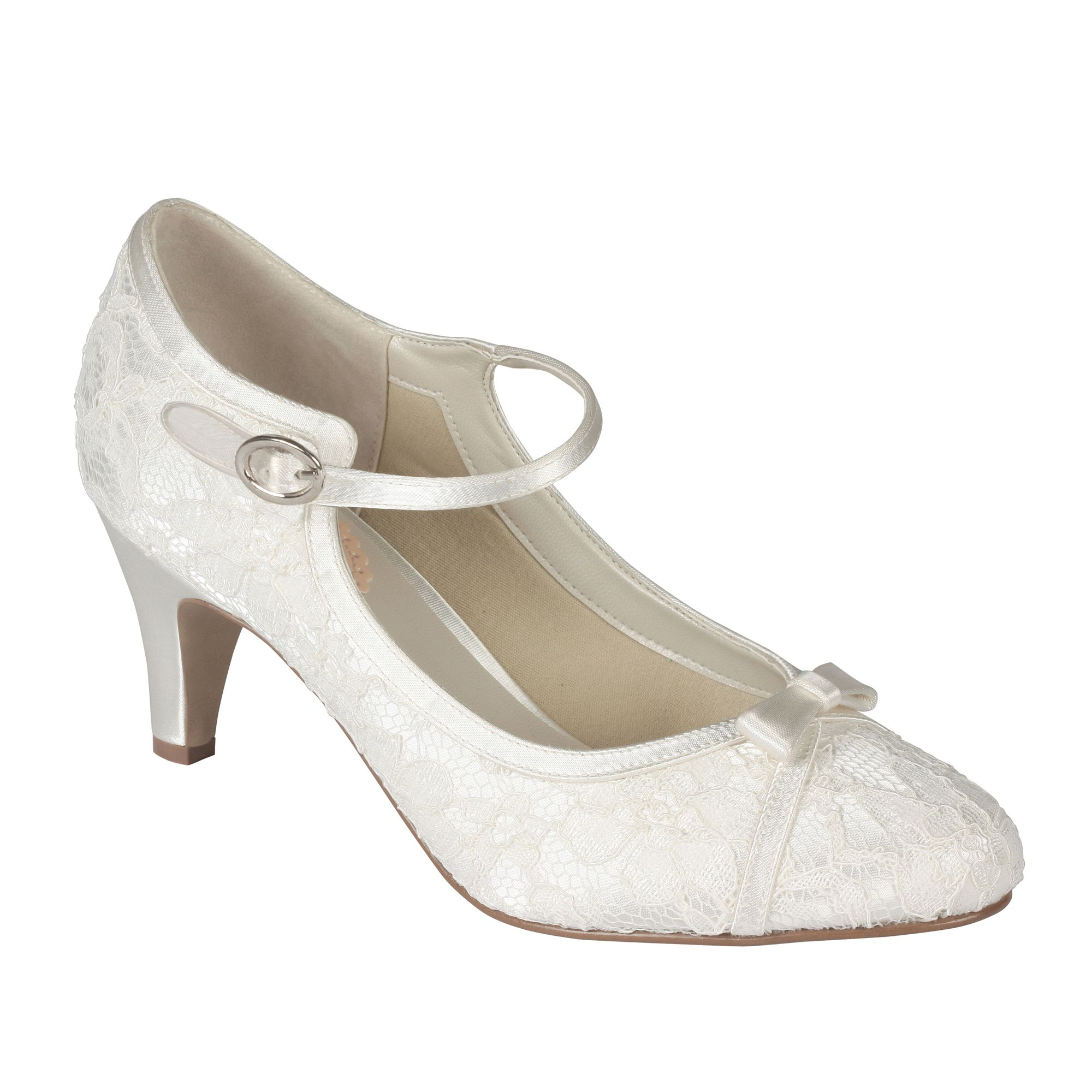 Paradox London Pink Cupcake vintage lace court shoes, Ivory