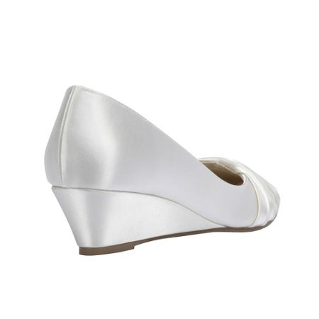Paradox London Pink Gleam round toe satin wedge shoes