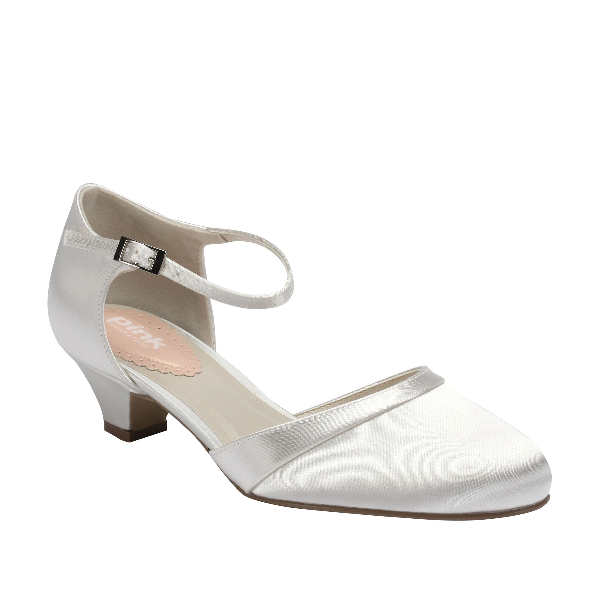 Paradox London Pink Paisley low heel round toe court shoes, Ivory