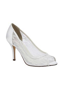 Scrumptious mesh lace peep toe shoes