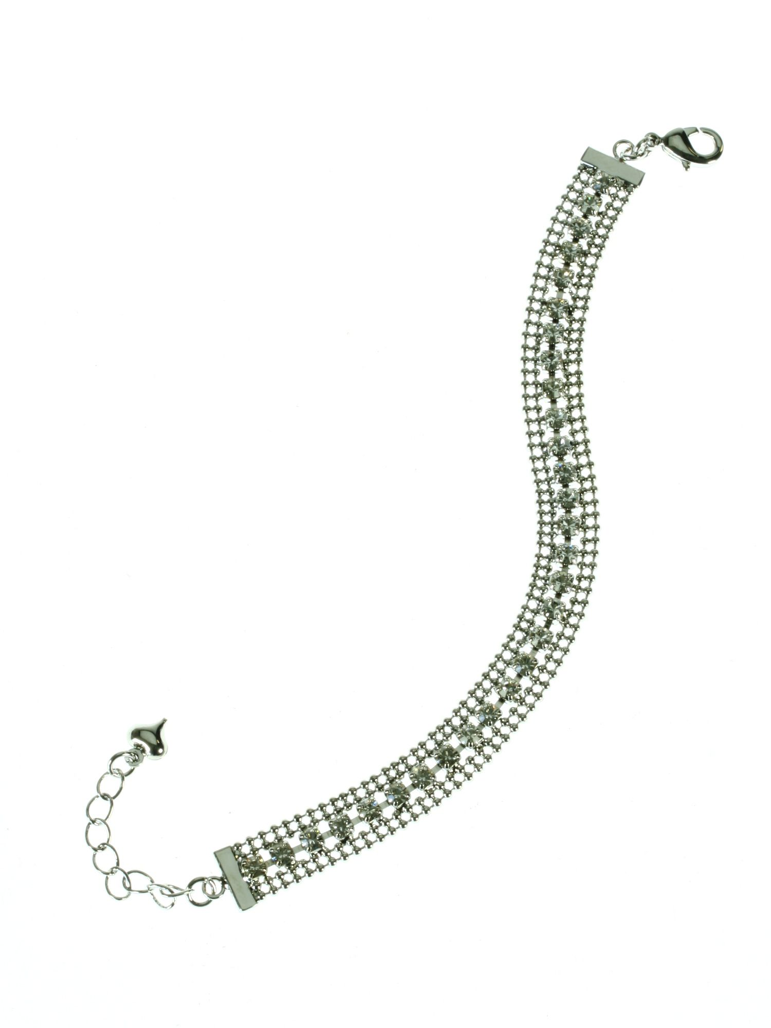 Rhodium plated crystal chain bracelet