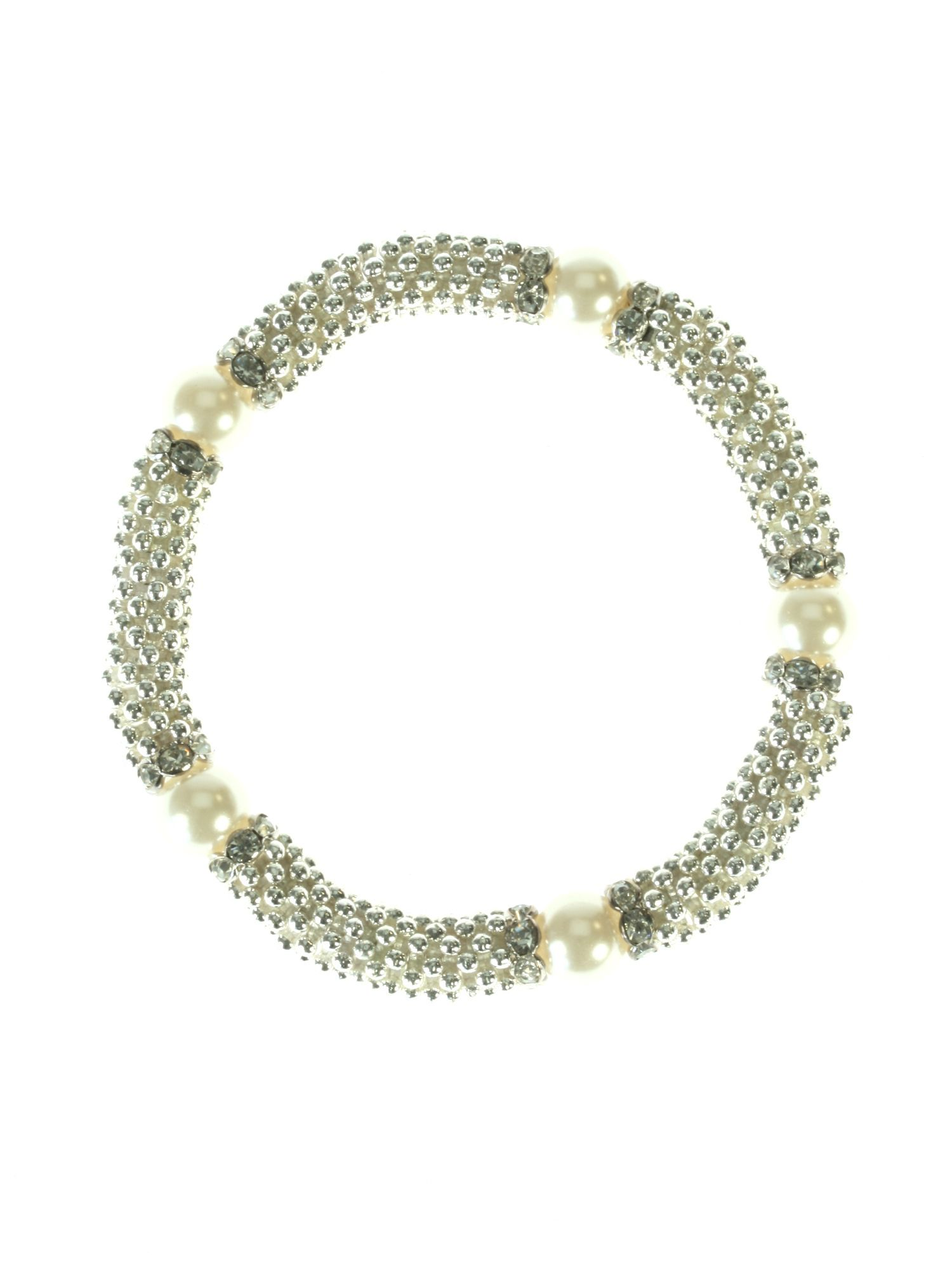 Faux pearls and crystals stretch bracelet