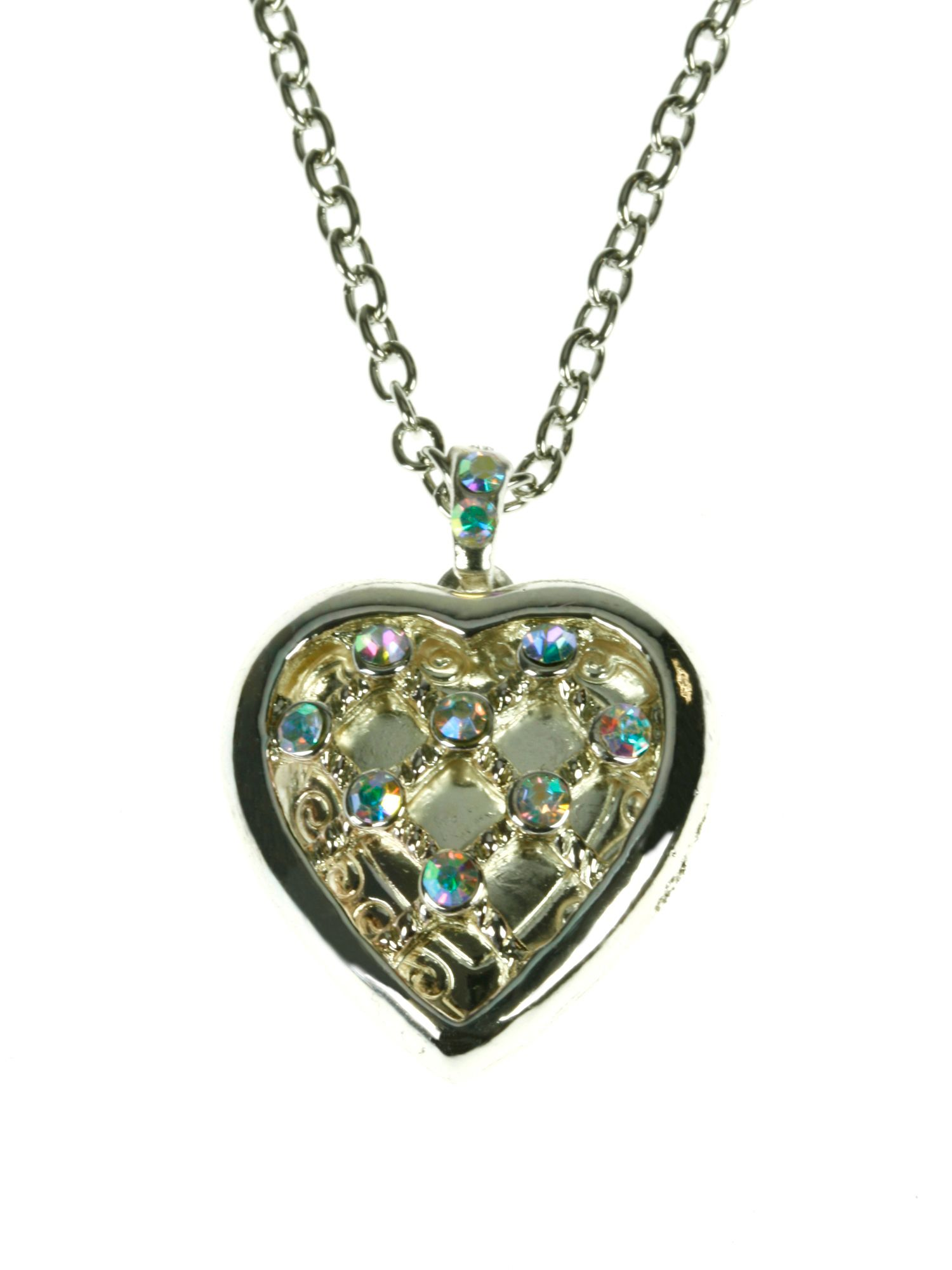 Silver plated rainbow crystals heart locket