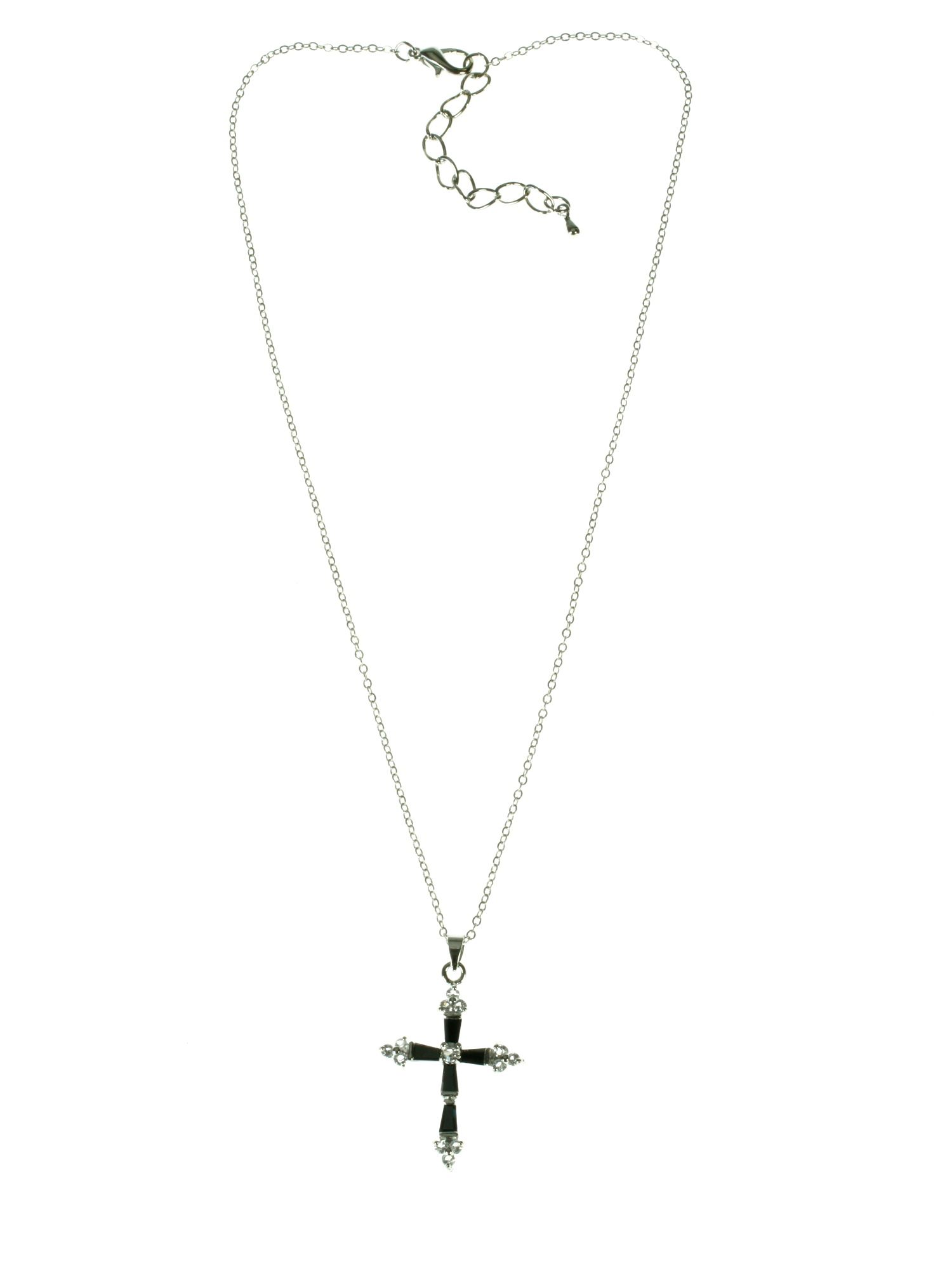 Rhodium plated cross pendant