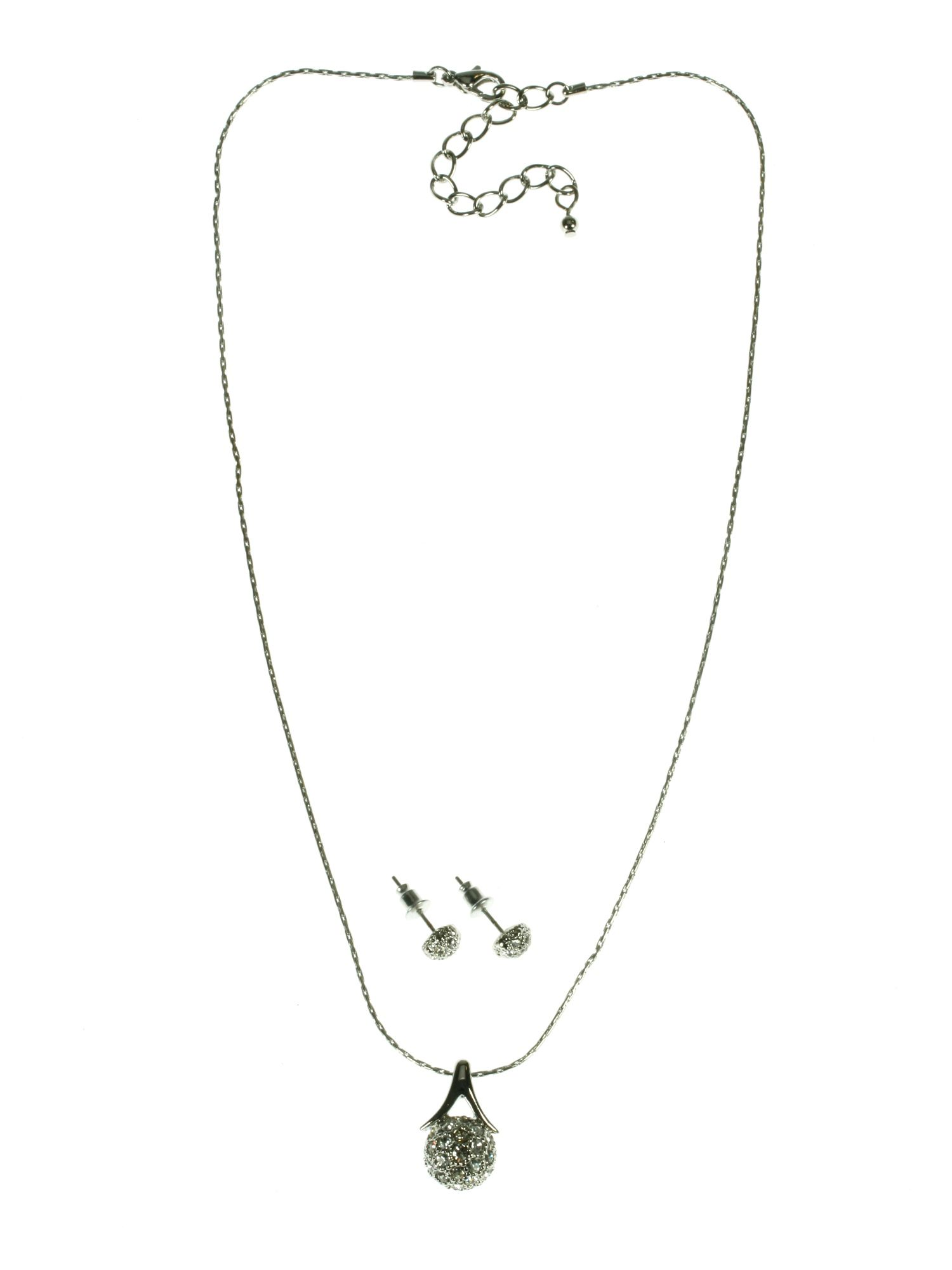 Rhodium plated wishbone necklace and earring set