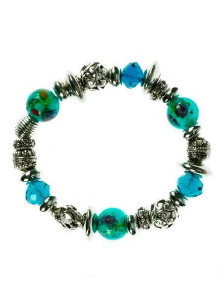 Indulgence Antique silver effect bracelet with teal beads