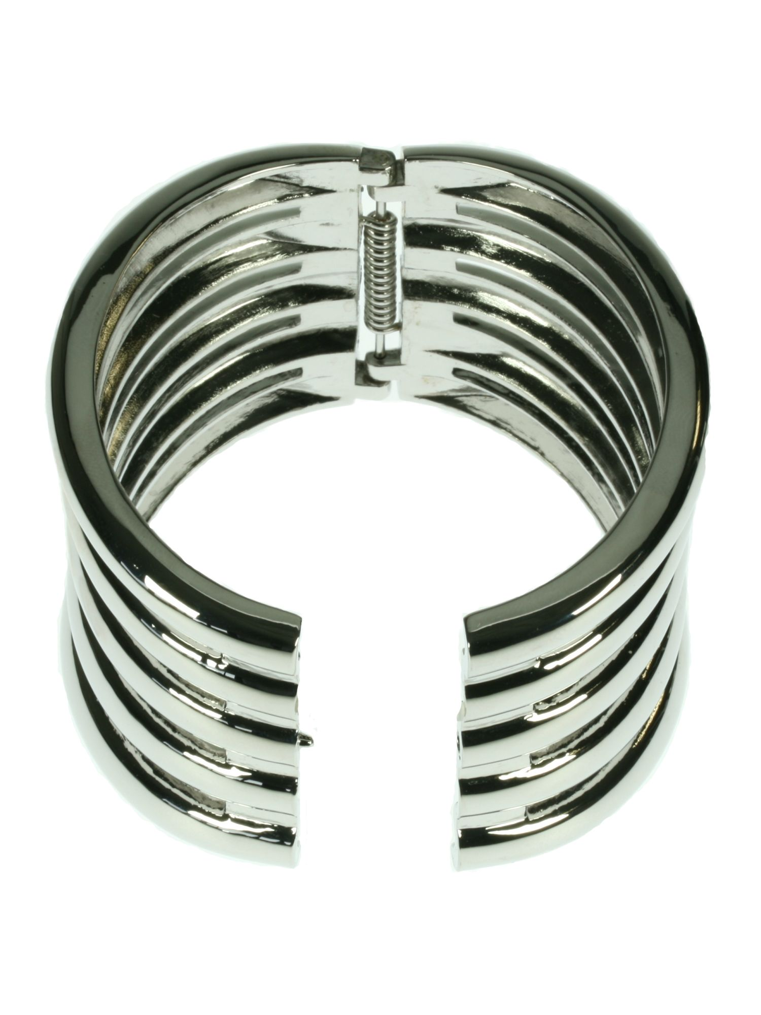Rhodium plated coil bangle