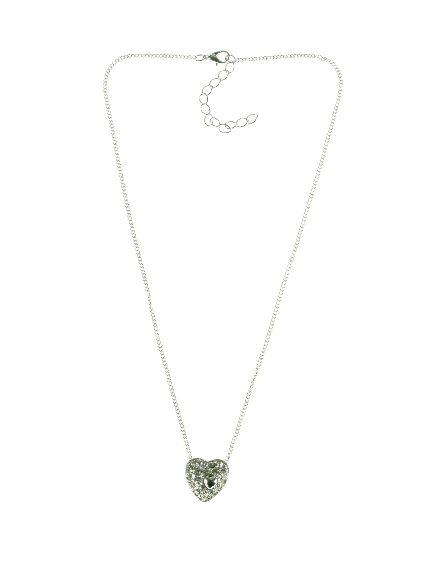 Silver plated clear crystals heart pendant