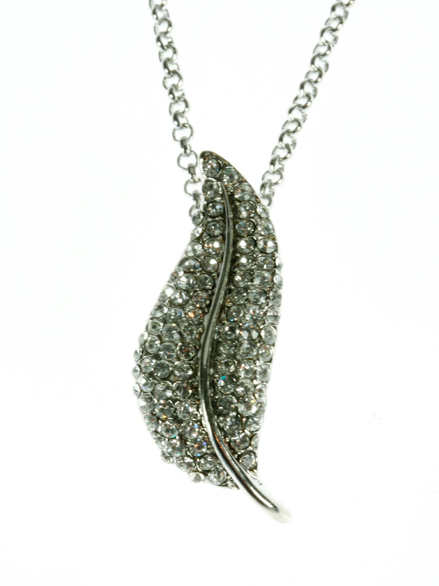 Rhodium plated clear crystals leaf pendant