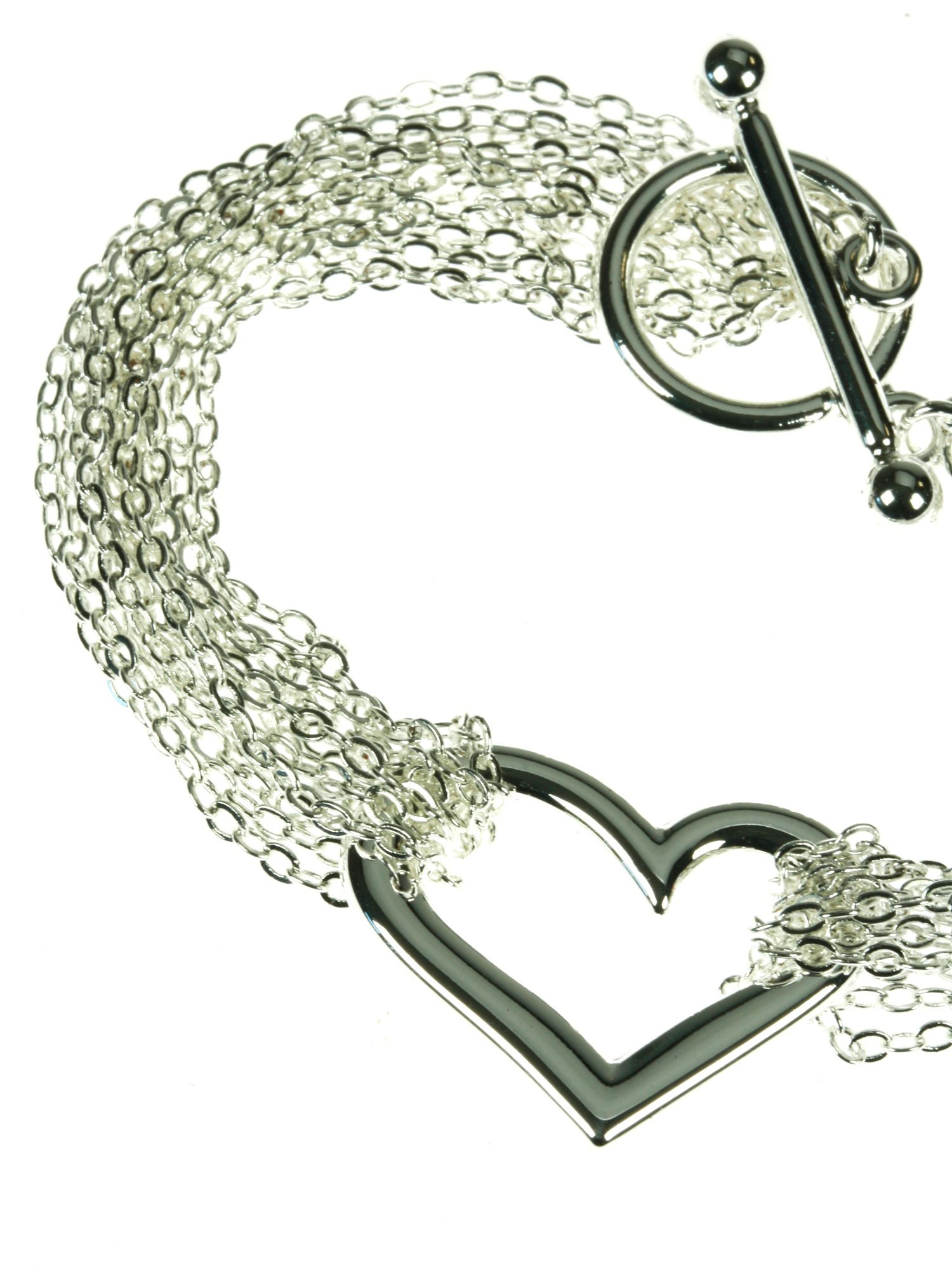 Silver plated heart multi row bracelet