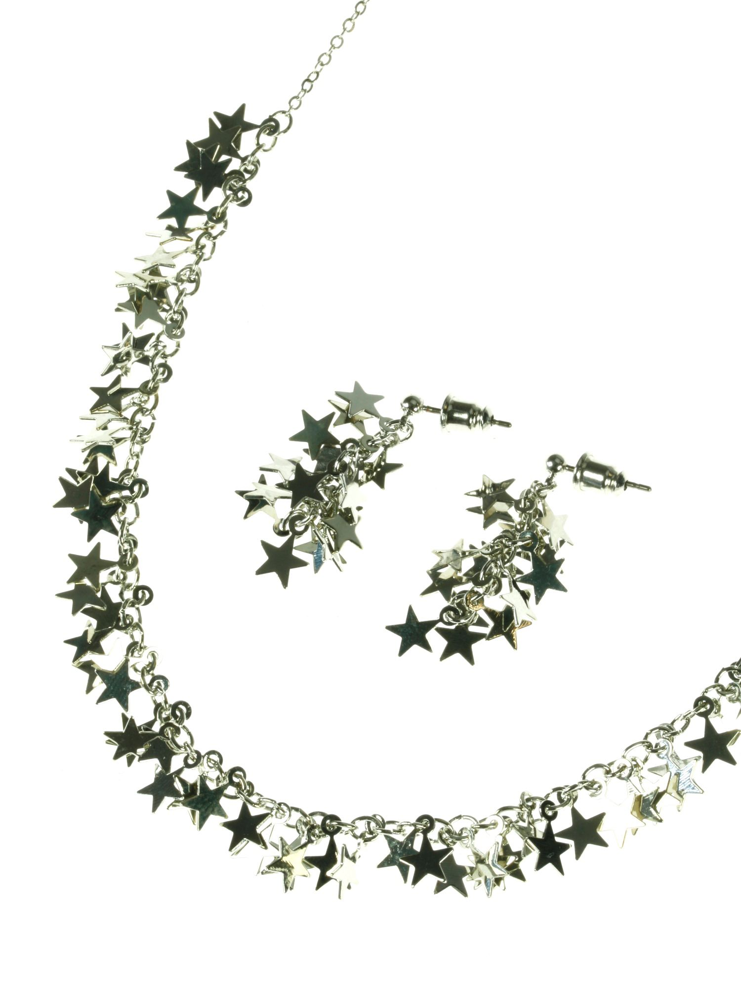 Rhodium plated stars necklace and earring set