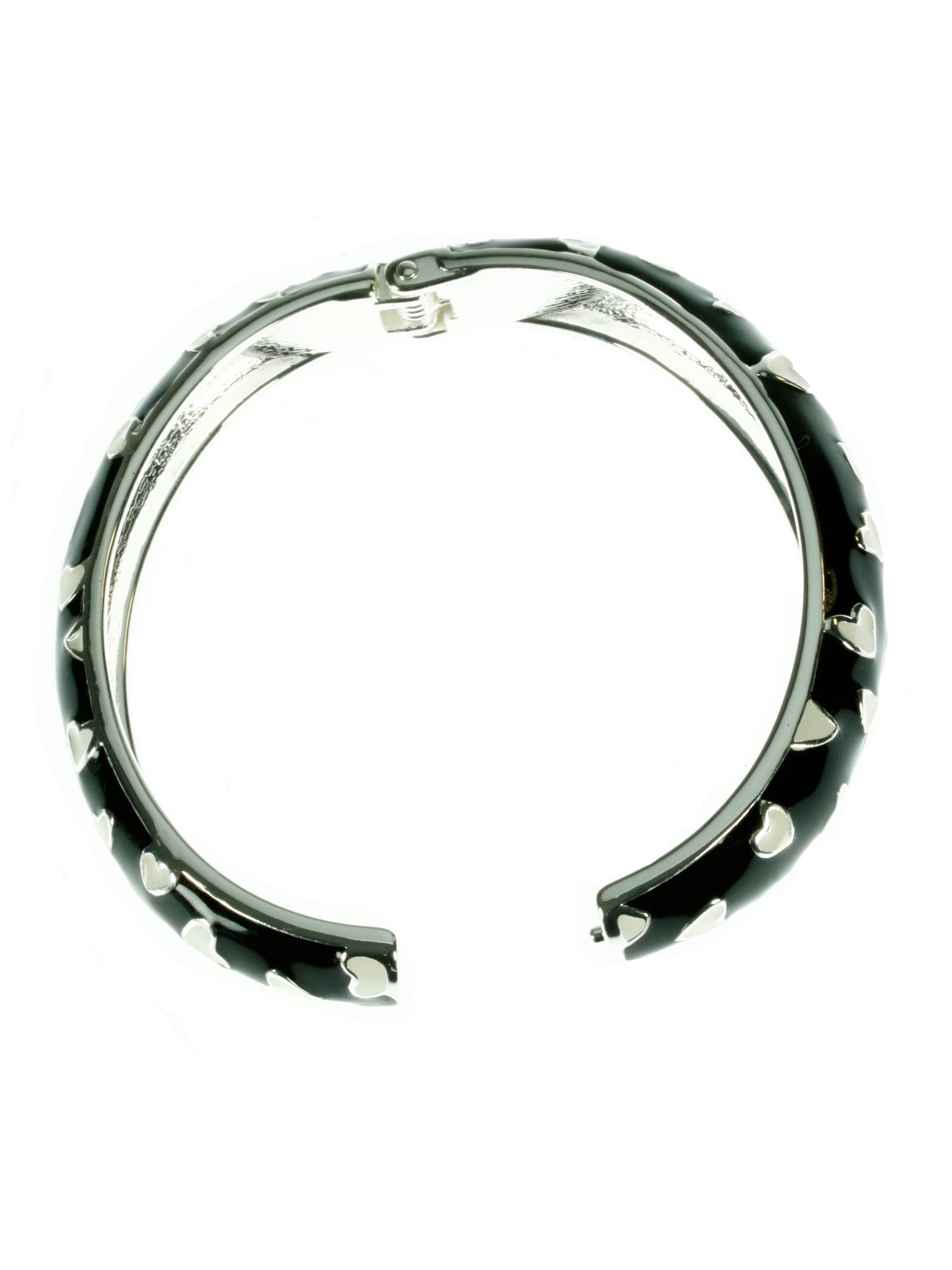 Black and creamy white spring hinged bangle