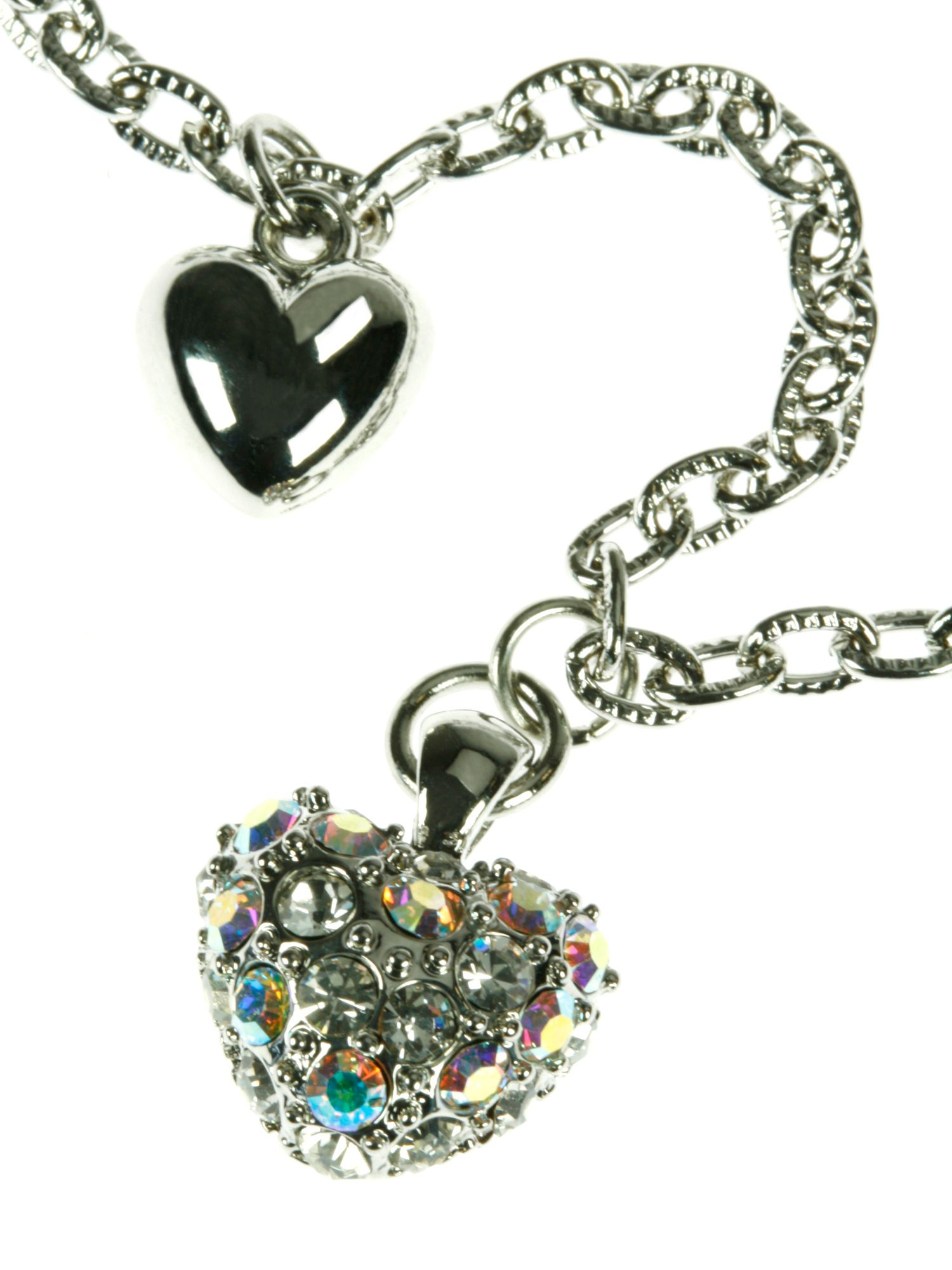 Rhodium plated 3 hearts charm bracelet