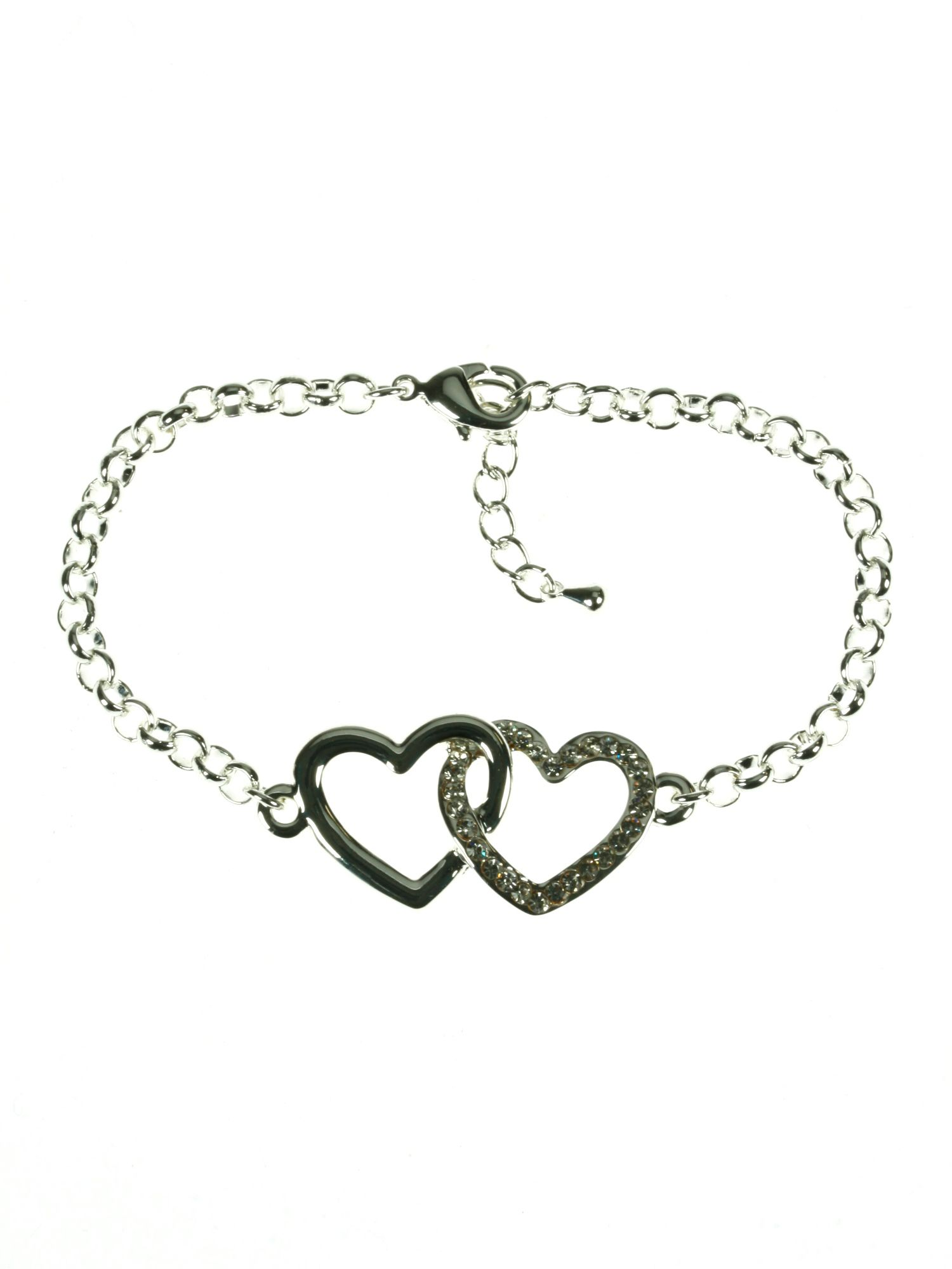 Silver plated entwined hearts chain bracelet