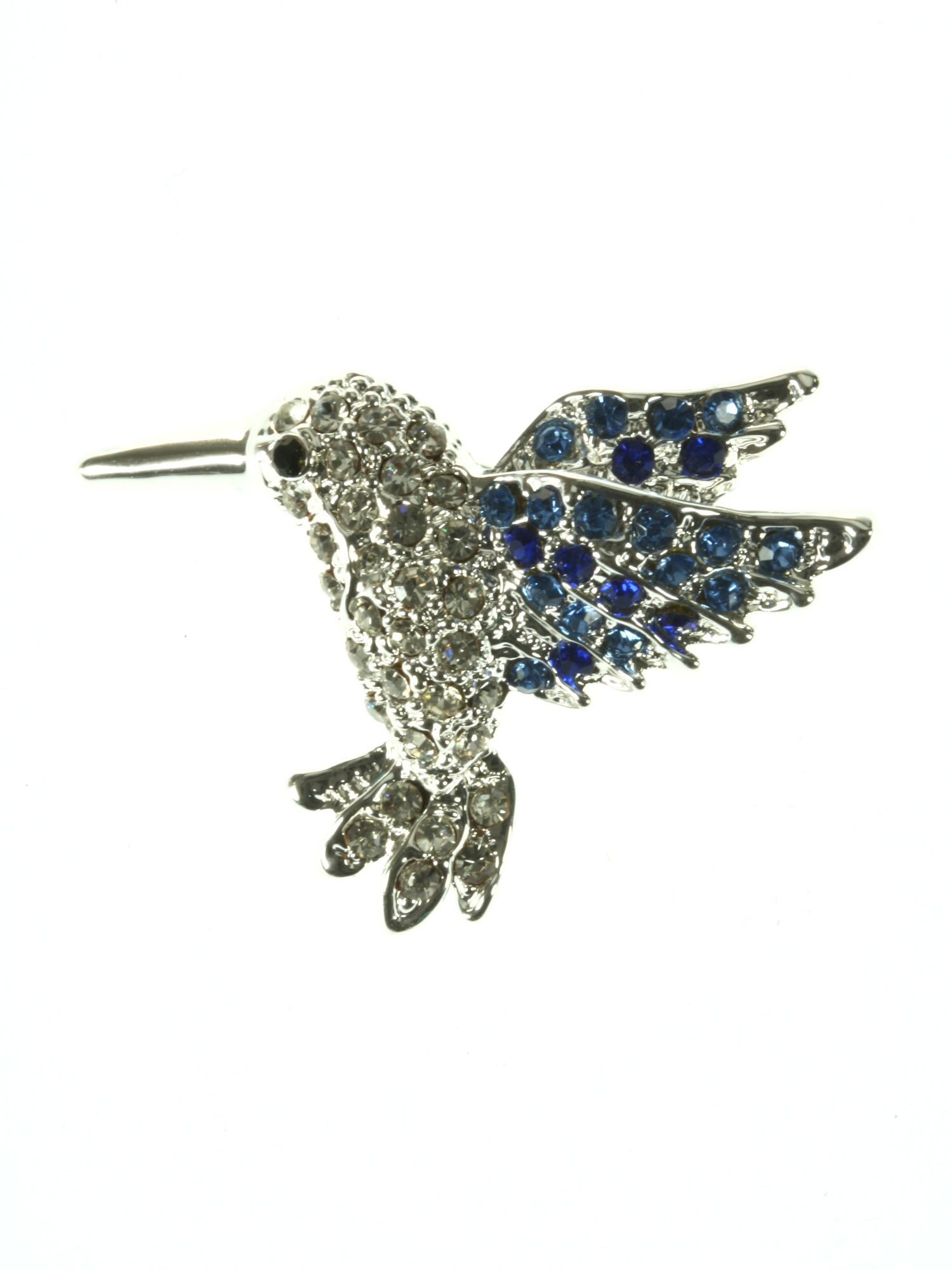 Clear and blue crystal hummingbird brooch