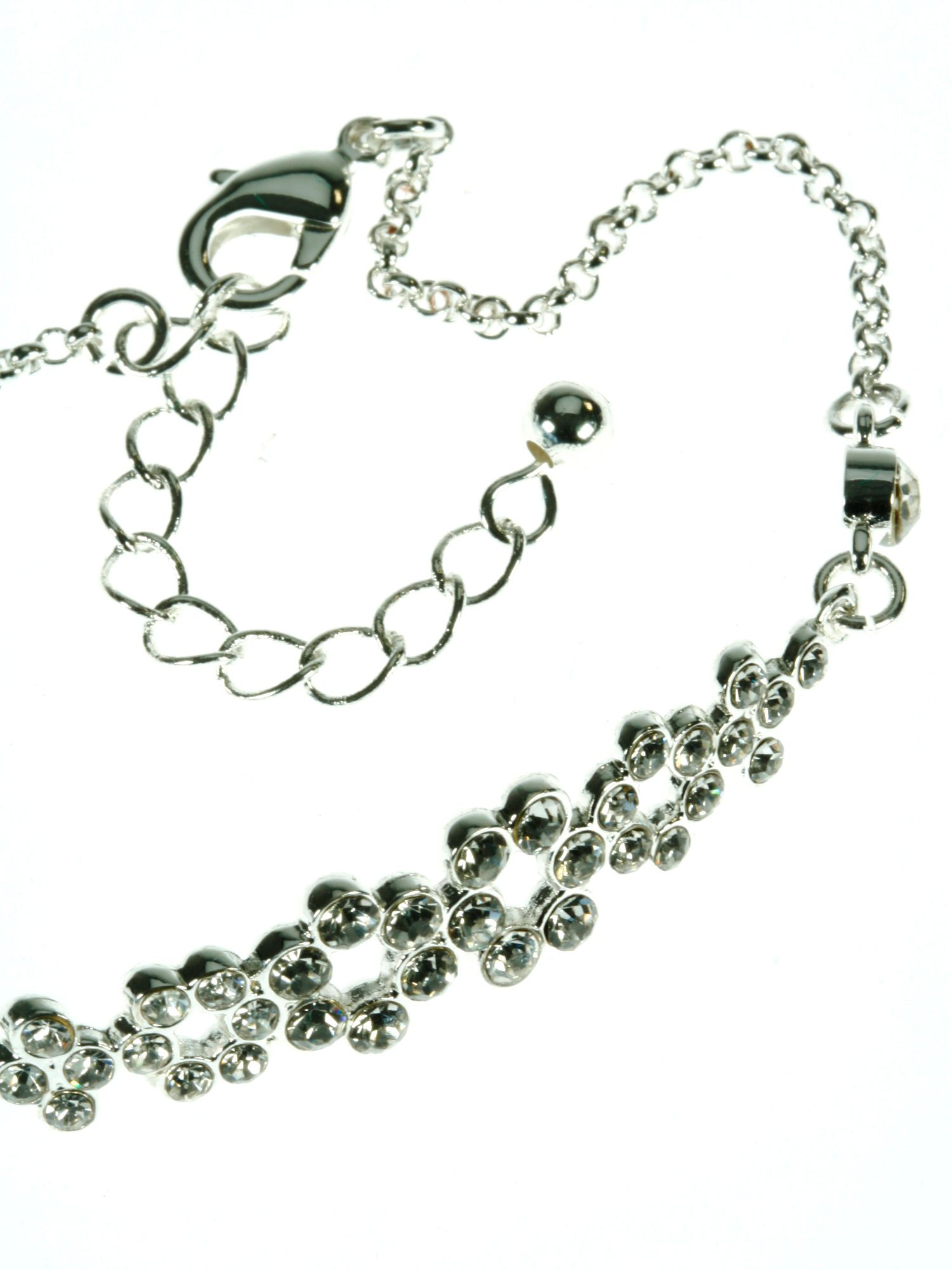 Silver plated chain clear crystals bracelet