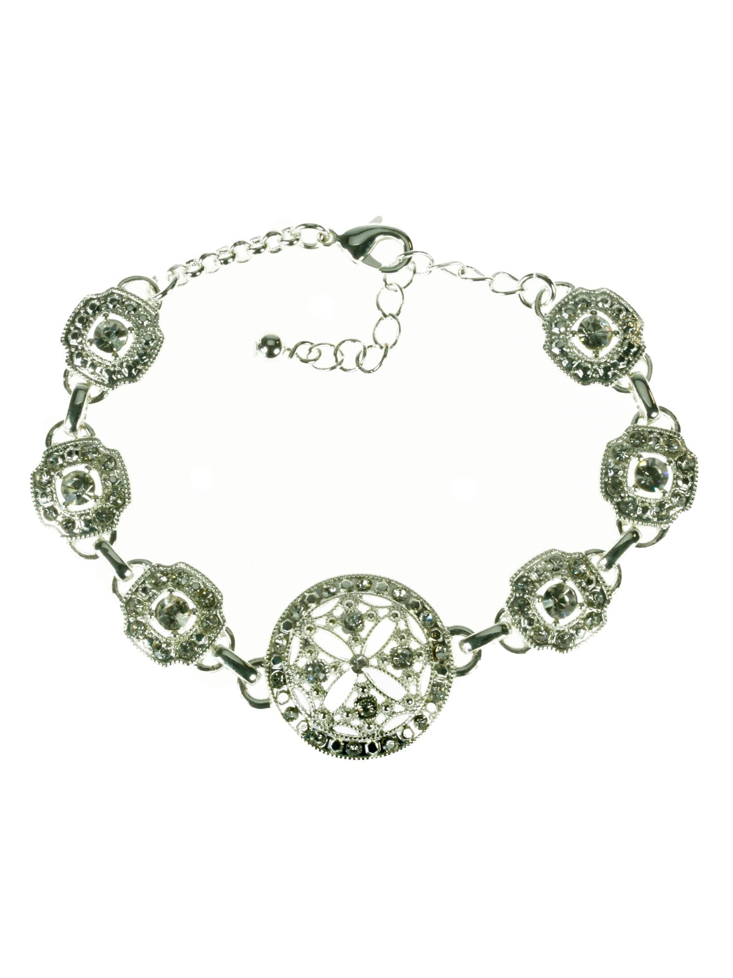 Rhodium plated filigree style crystal bracelet