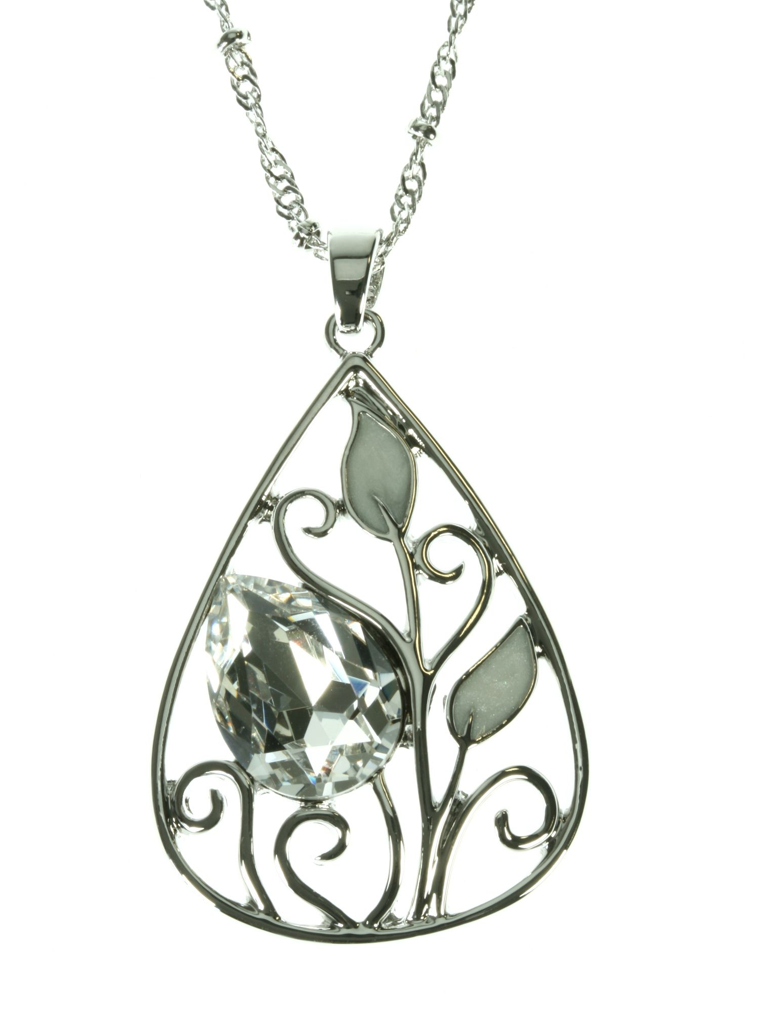Rhodium plated pendant with large clear crystal a