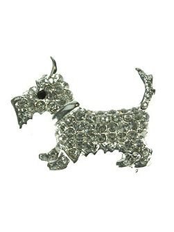 Crystal Dog Brooch