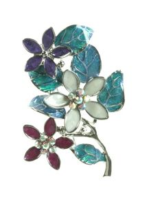 Multi colour flowers and leaves brooch