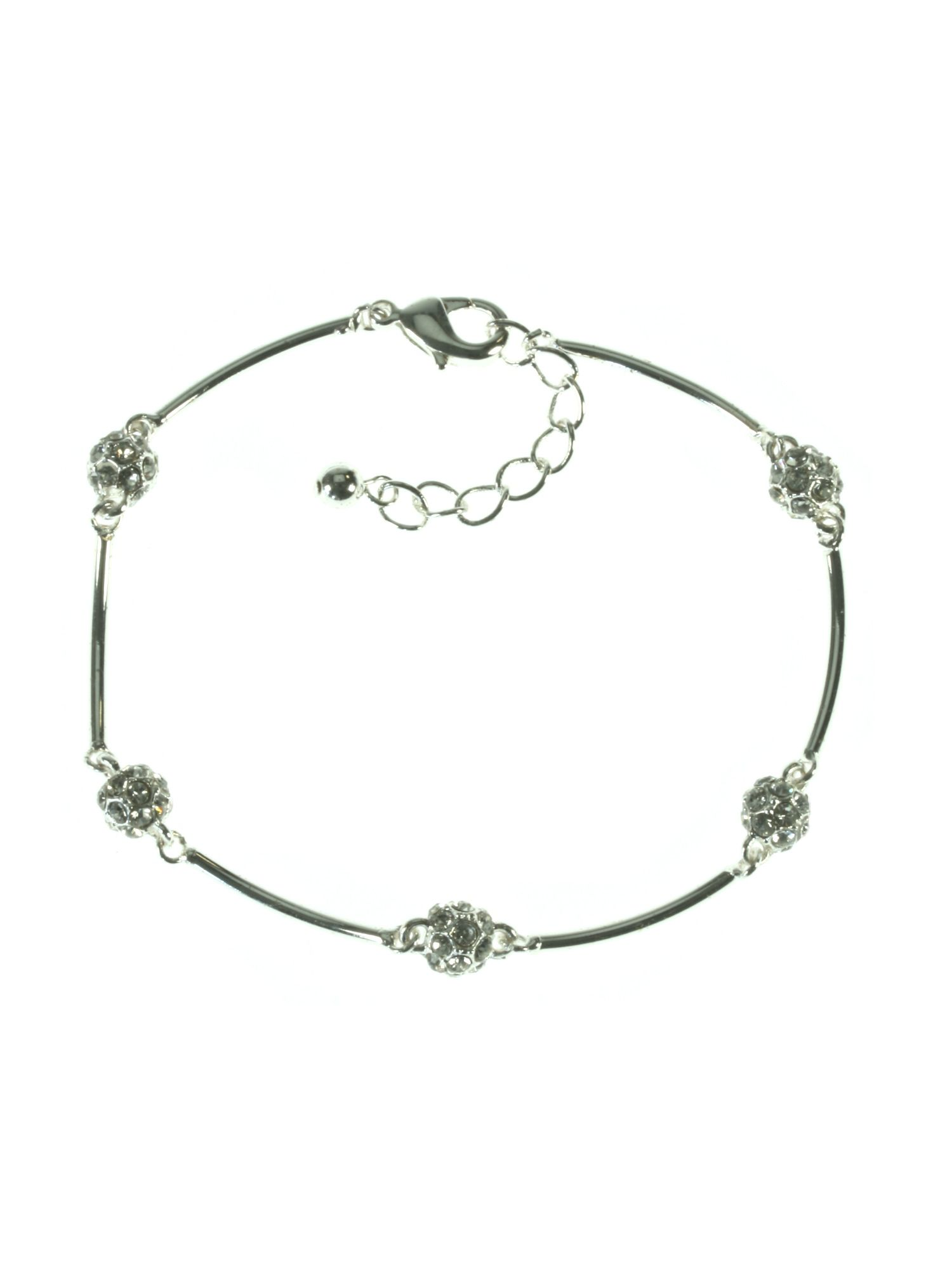 Silver plated bar and fireball bracelet