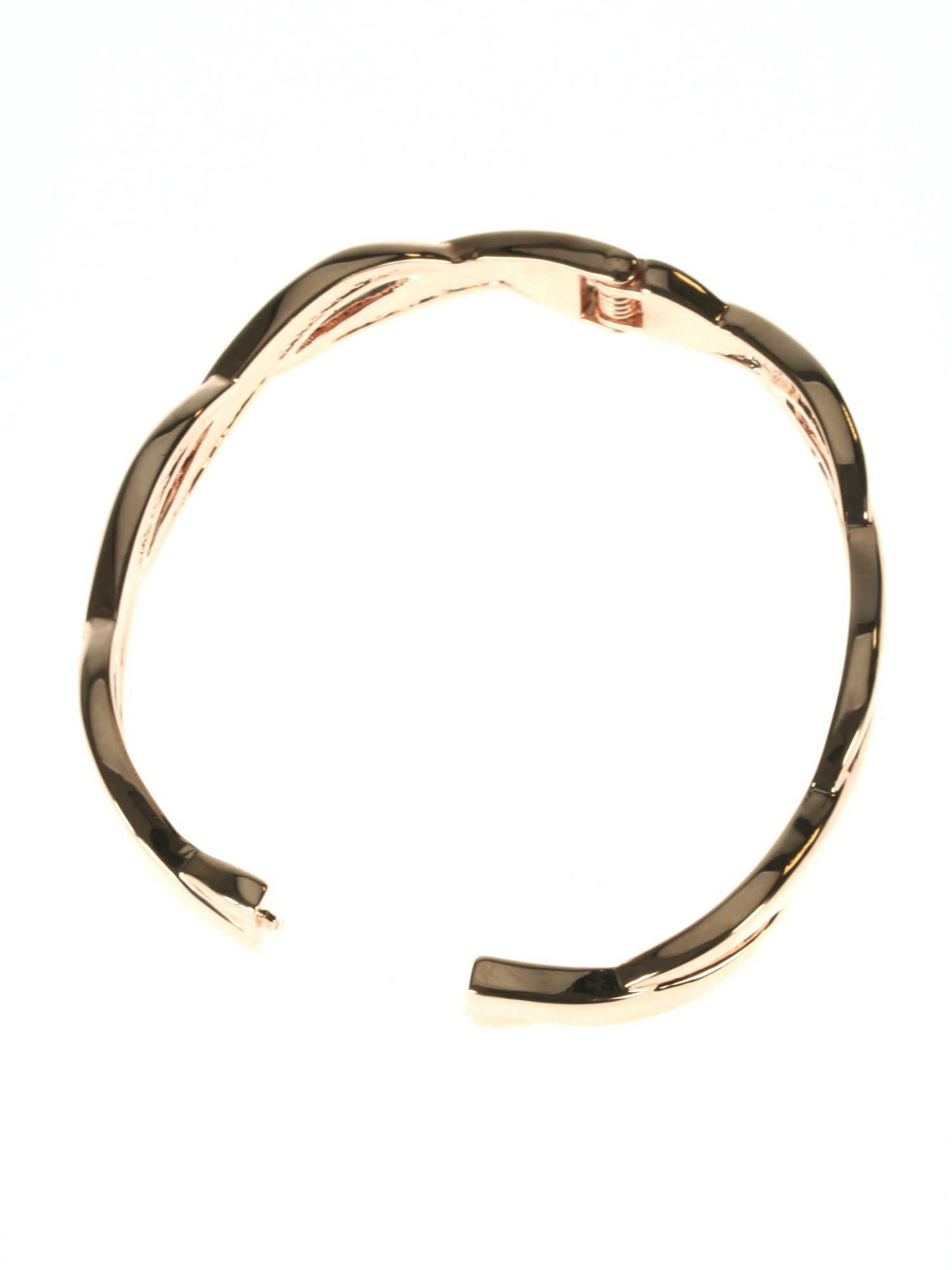 Rose gold plated twist hinged bangle