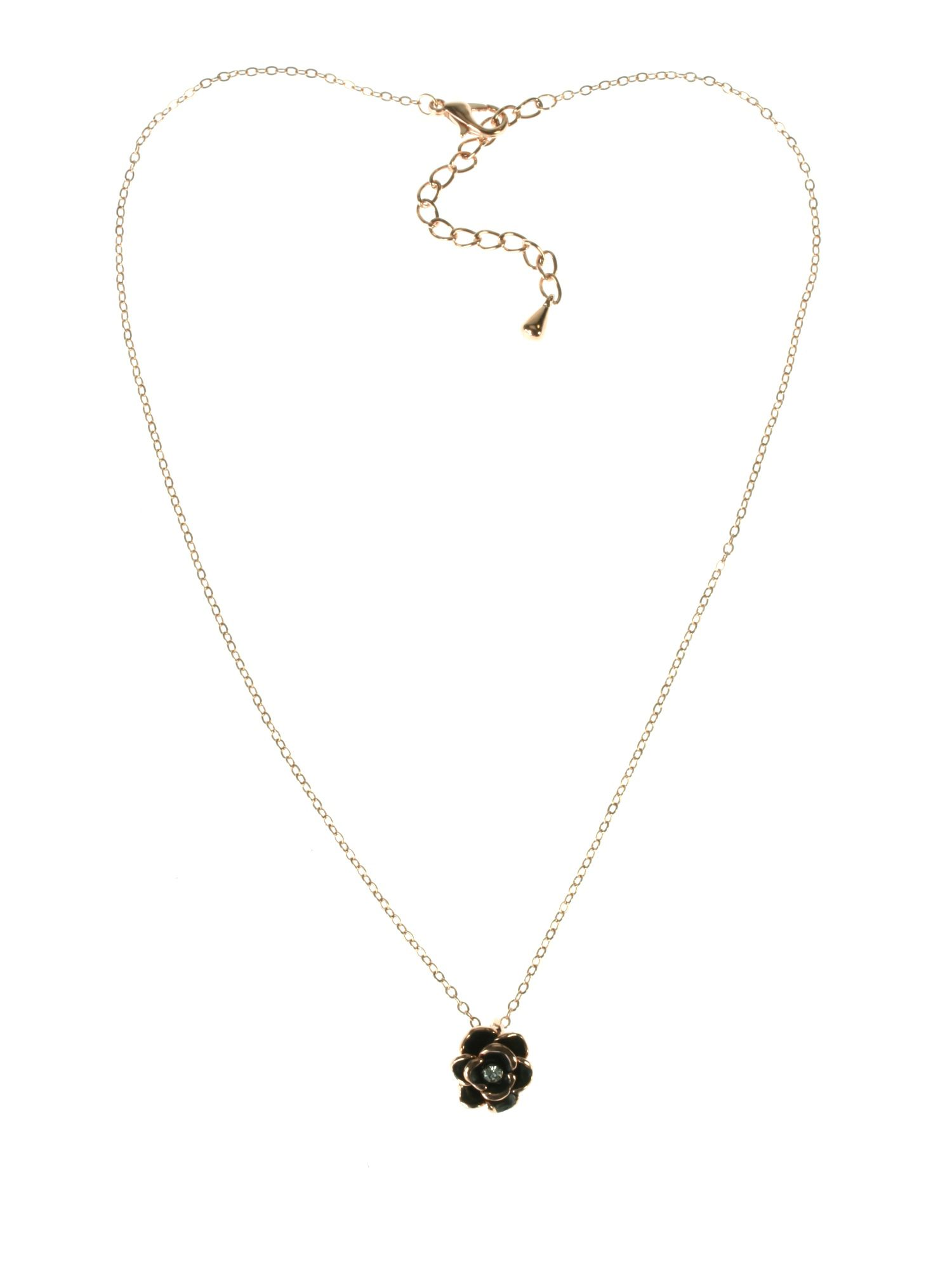 Rose gold plated rose pendant with black enamel p