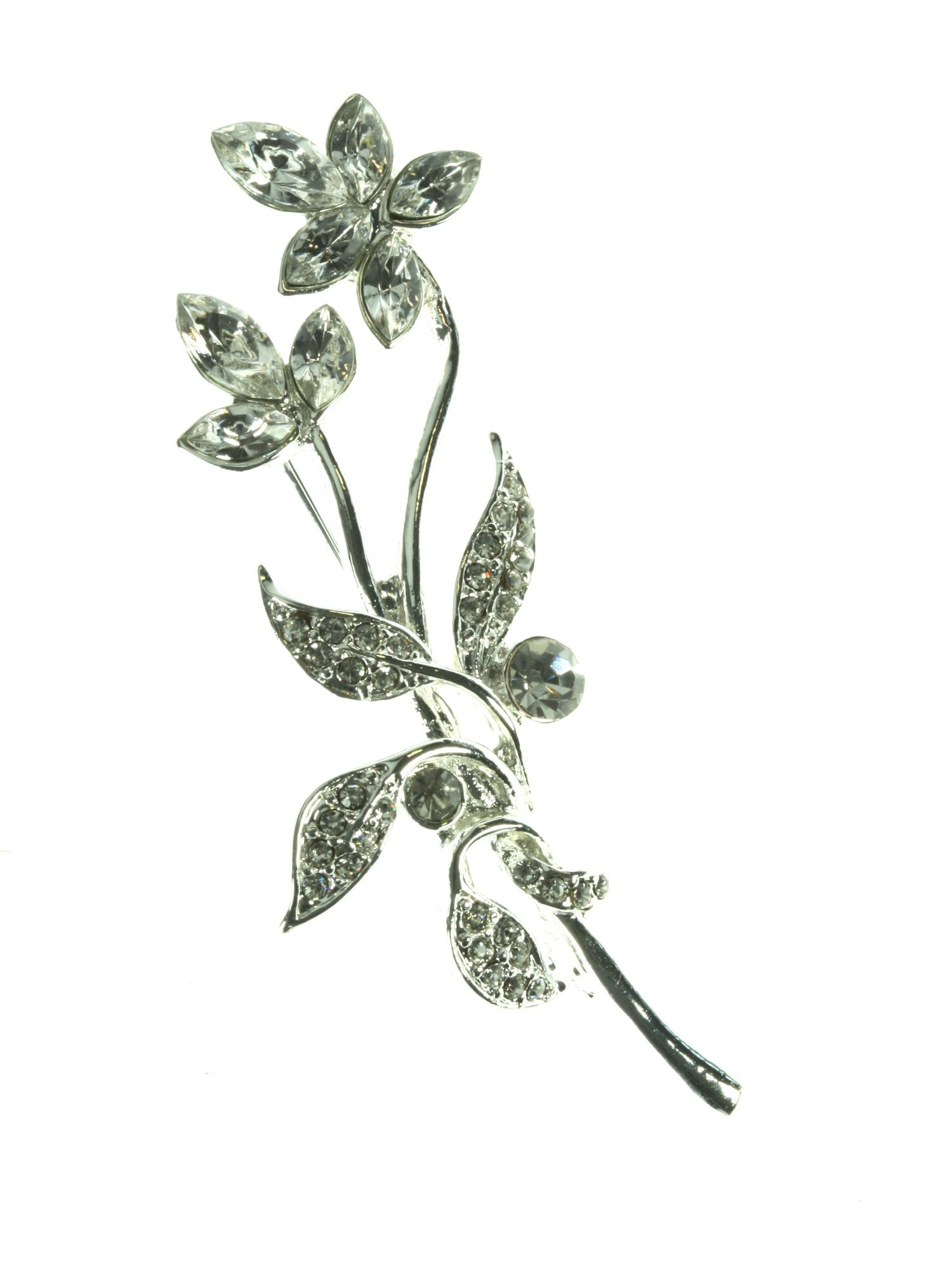 Silver plated flower brooch with crystals