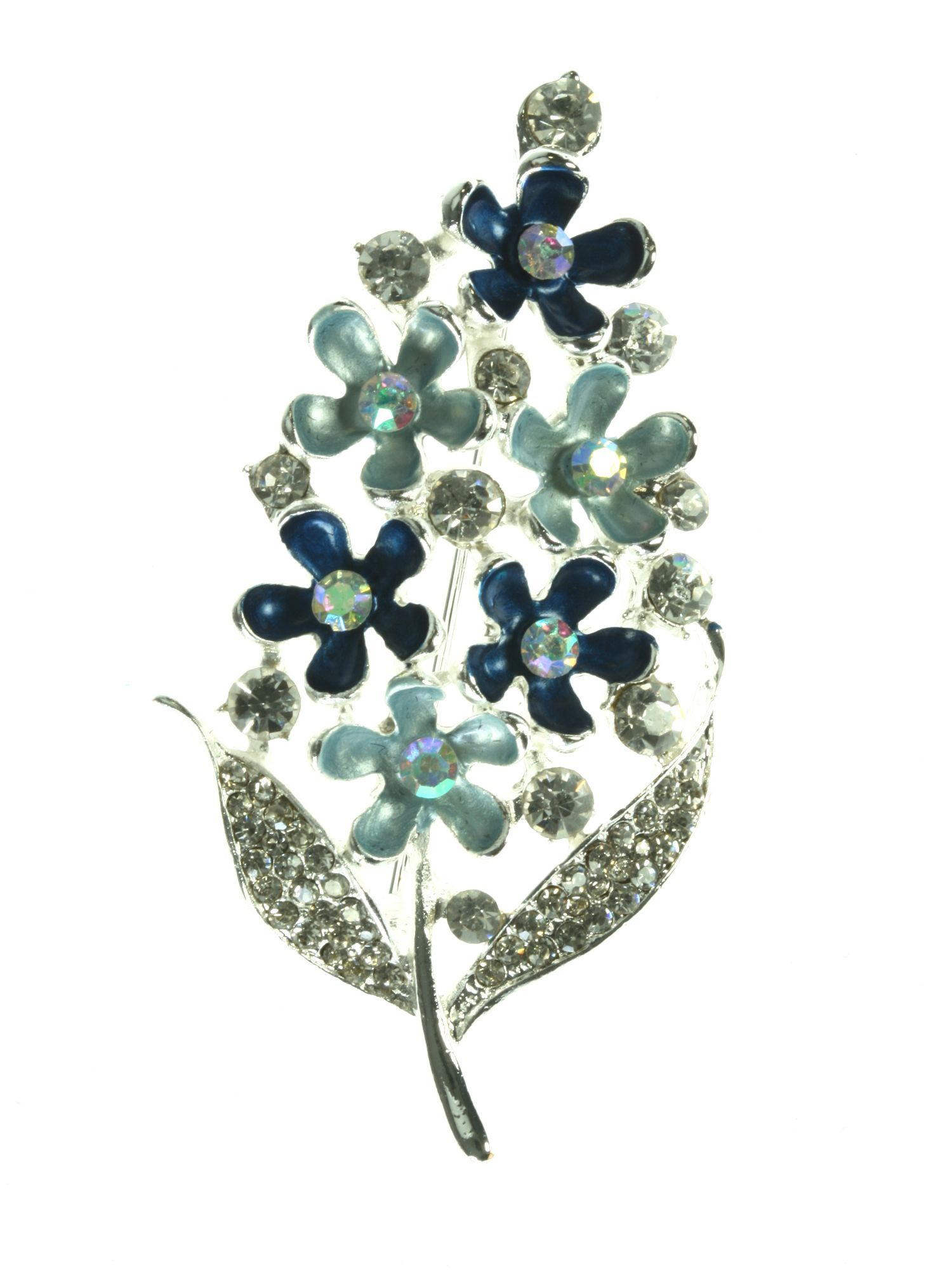 Silver plated leaf brooch with blue flowers