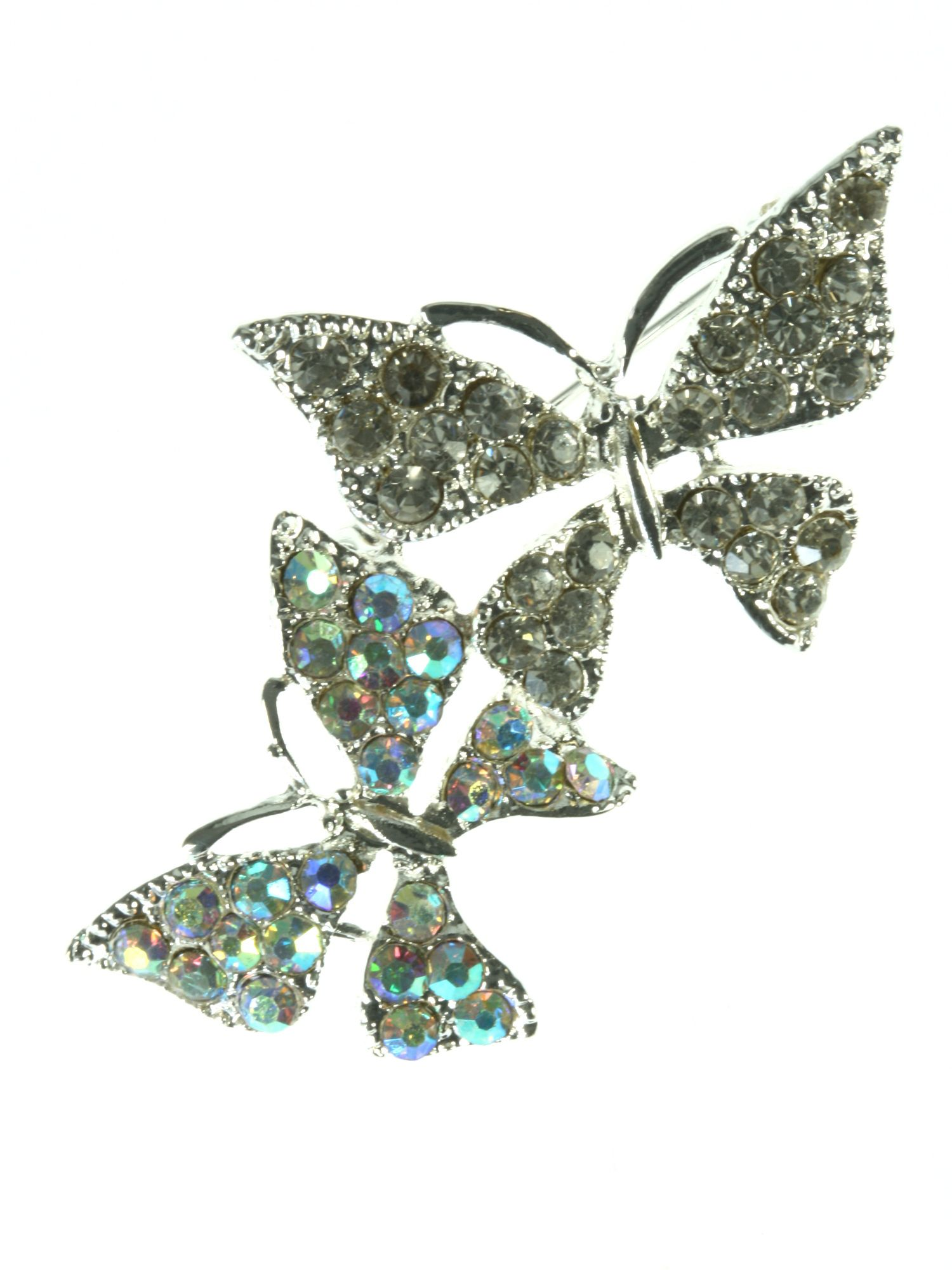 Silver plated butterflies brooch with crystal and