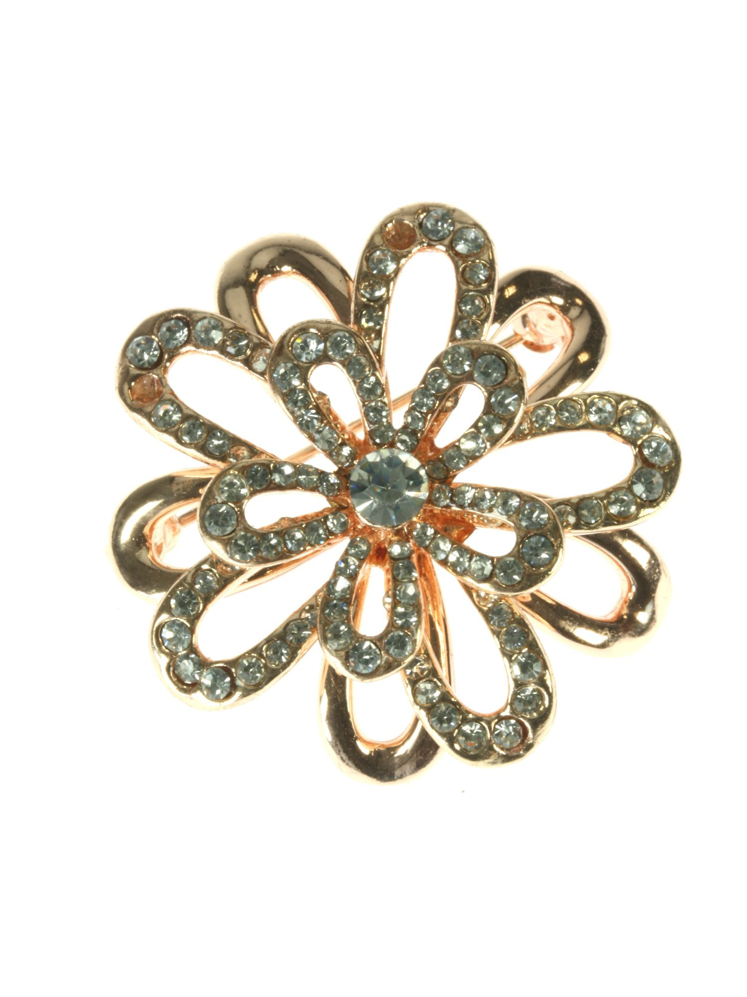 Rose gold plated flower brooch with crystals