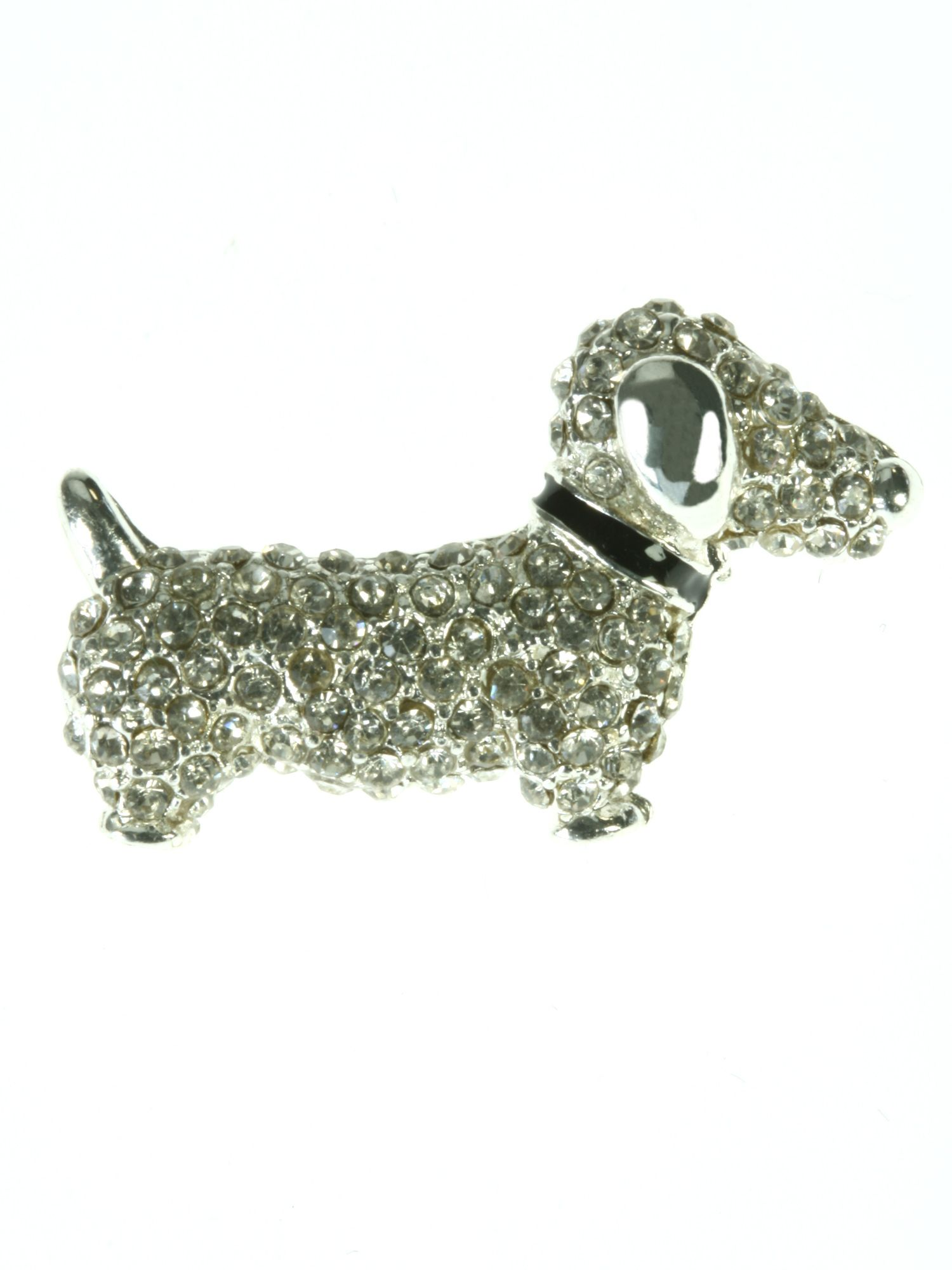Crystal encrusted sausage dog with black collar