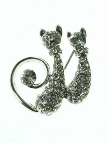 Two Cats Brooch