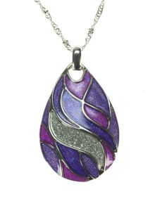 Indulgence Jewellery Purple enamel teardrop pendant
