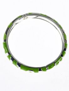 Silver plated lime green enamel bangle
