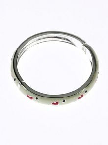 Cream with red hearts bangle