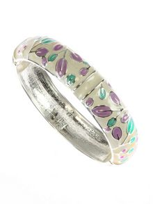 Lilac, green and cream oval leaf bangle