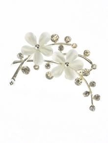 Indulgence Jewellery White resin double flower brooch