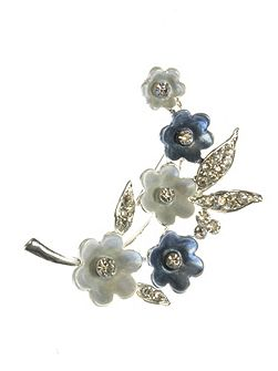 Blue and white painted flower brooch