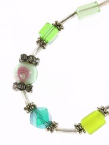 Green bead and rose bead bracelet
