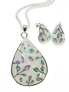 Indulgence Jewellery Lilac,green,cream pendant & earring set