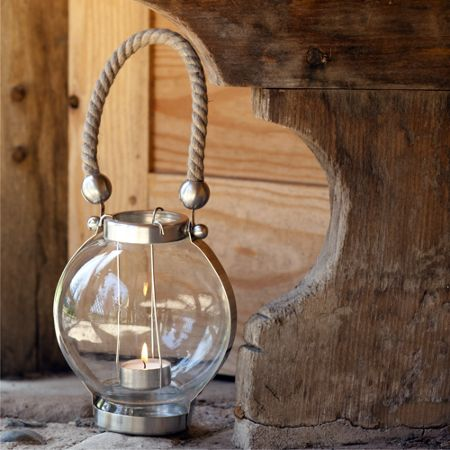 Firefly Coastal globe lantern with rope handle large