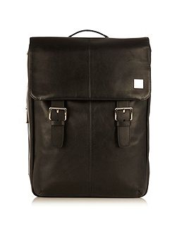 Knomo Hudson black leather city backpack