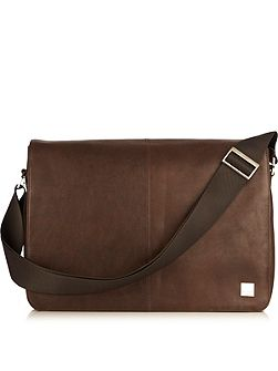 Bungo brown leather messenger bag